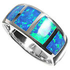 Sterling Silver Wide Inlay Blue Lab Opal Engagement Band Promise Ring Size 3-11