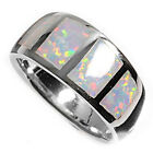 Sterling Silver Wide Inlay White Lab Opal Engagement Band Promise Ring Size 3-11