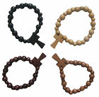 BLACK BROWN BEIGE NATURAL WOOD BOHO GOTHIC CROSS BEAD STRETCHY BRACELET