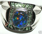 Men's Australian Opal Stainless Steel & Peridot Ring  #236 Ringz4less Exclusive