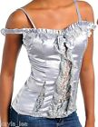 Silver/Gray Satin Ruffle/Lace Inset Front Off Shoulder Cami Top S