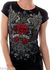 Black Red Rose/Wing/Cross/Scroll Love & Faith Rhinestone Embellished Cap Tee Top