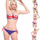 Sexy USA American Star Stripe Flag Design Push-Up Triangle Bikini Set Swimwear