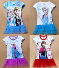 Girls Kids Princess Frozen Queen Elsa Anna Tulle Summer Tops T-Shirt 2-8Y Dress