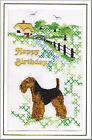 Welsh Terrier Birthday Card Embroidered by Dogmania  - FREE PERSONALISATION