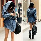 Womens Loose Denim Trench Coat Hoodie Jacket Hooded Jean Outerwear New Fashion