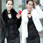Womens  Attractive Winter Warm Faux Mink Fur Fox Fur Collar Long-sleeved Coat