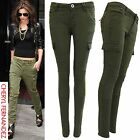 NEW WOMENS LADIES SKINNY FIT CARGO JEANS KHAKI ZIP COMBAT QUILTED LOOK TROUSERS