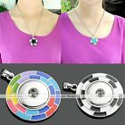 1X Alloy Plaid Disc Snap Charm Pendant For Buckle Style Necklace DIY Gift