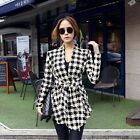 Korean Womens Houndstooth Pattern Thin Cardigan Coat Jacket Outwear GFY