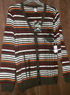 NWT 3XL Artful Dodger Men's CHESTNUT STRIPED CONSPIRE CARDIGAN SWEATER $148 tags