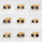 6mm Round Black Agate Druzy Geode Gemstone Stud Earrings Gold Plated HOT HG103