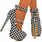 Ladies Black/White Dog tooth Straps Corset Back Stiletto Platform Pump Shoe Size