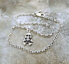 Sterling Silver Skull & Crossbones Charm on a Sterling Rolo Bracelet - 0828