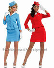 8-26 Cabin Crew Air Hostess Stewardess Costume & Hat Ladies Fancy Dress Outfit