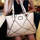 Womens Rhombus Design Faux Leather Tote Handbag Shoulder Bag Purse Shopper W8