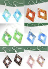 Colorful Dichroic Rhombus Lampwork Murano Glass Pendant Dangle Hook Earrings