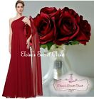 EVE Cranberry Red Chiffon One Shoulder Long Prom Evening Bridesmaid Dress 6 -18