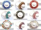 Fashion Jewelry Austrian Crystal Huge White Pearl Adjustable Ring