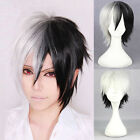 Fancy Cosplay Anime Short Wig Straight Hair Costume Party Black+White Full Wigs