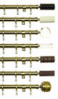 19mm Dia Metal Curtain Pole Burnished Brass Effect - Finial Options 180 or 360cm