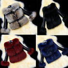 VOGUE Women's Faux Fur Leather Coat Short Jacket PU Parkas Coat HF