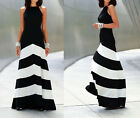 Women Striped Long Boho Dress Empire Waist Halter Neck Summer Beach Maxi Dress