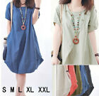 New Womens Sale Loose Dress  Pocket mini party casual Dress Summer Dress Nice