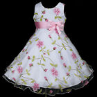 UkV g3 p006 White Pink Birthday Party Special Occasion Flower Girls Dress 2-12y