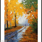 AUTUMN PAINTING YELLOW FALL LANDSCAPE PALETTE KNIFE IMPRESSIONIST WALL ART