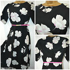NEW PAPAYA @ MATALAN RETRO 50'S TEA DRESS BLACK IVORY PINK FLORAL SIZE 6 - 20