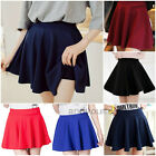 Womens Vintage Stretch High Waist Skirt Plain Skater Short Flared Pleated Dress
