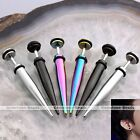 Mens Punk Taper Spike Stainless Steel Fake Cheater Ear Plug Earrings Cool Gift