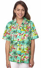 Benny's Womens Flamingos Hawaiian Shirt, Sage