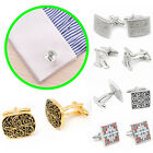 Plate With Silver Vintage Men's Wedding Gift Classical Grid Shirt Cuff Links EG