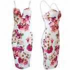NEW LADIES STRAPPY MIDI DRESS PINK FLORAL WOMENS BODYCON SLEEVELESS CAMI VEST