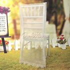 Beige Color Lace Organza Chair Cover with Embroidery Wedding Banquet Decorations