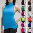 WOMEN MOCK TURTLENECK SLEEVELESS RIBBED FITTED TOP STRETCH TANK TOP SHIRT