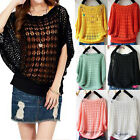 Fashion Womens Lady Knitwear Pullover Batwing-Sleeved Hollow Out Sexy Outwear