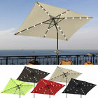 10'x6.5' Patio Solar Umbrella LED Light Tilt Deck Waterproof Garden Market Beach