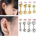 2x Steel Ball Ear Cartilage Tragus Barbell Bar Sparkle Straight Earring Piercing