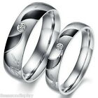 1PC Stainless Steel Ring Couple Rings Rhinestone Band Wedding Engagement
