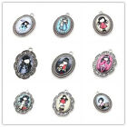 5/25x Glass Girls Patterns Stickers Antique Silver Charms Alloy Oval Pendant LC