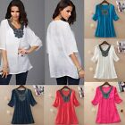 Fashion Women Embroidery Half Sleeve Tee Shirt Casual Loose Blouse Top GFY