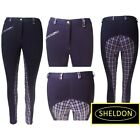 WOMENS SHELDON ELITE CHECKED JODHPURS - 26 - 32 BLACK / RED,  PURPLE CHECKED