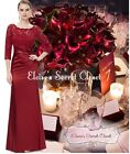 BNWT ALEXA Cranberry Red Lace Maxi Prom Evening Cruise Ballgown Dress UK 6 - 18