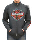 Harley-Davidson Mens Asphalt B&S Logo Charcoal Grey Full Zip Mock Neck Sweater