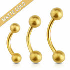 Pair of 16G Matte Gold IP Surgical Steel Eyebrow Rings Curve Barbell Tragus Lip