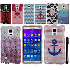 For Samsung Galaxy Note 4 N910 DIAMOND BLING CRYSTAL HARD Case Phone Cover + Pen