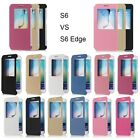 Housse Etui Coque Flip View Leather Cover Window Samsung Galaxy Note 4 S6 Edge